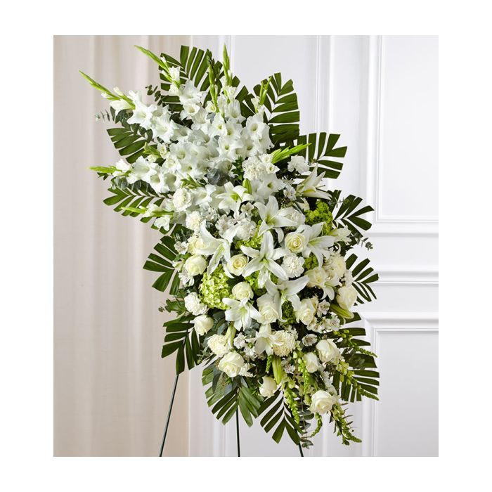 Order White Rose Lily Standing Spray By Flowers Of Hobe Sound