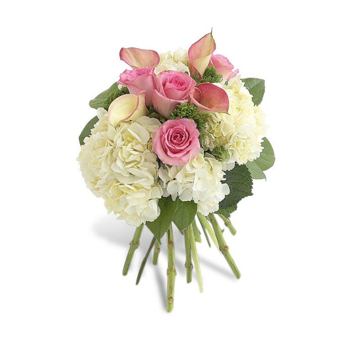 Order Pink Rose Calla And Hydrangea Bouquet By Flowers Of Hobe Sound