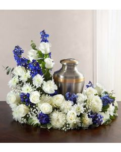 Cremation Wreath in Blue & White