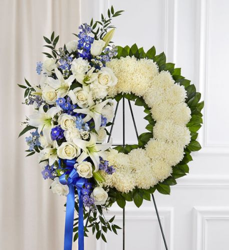 Serene Blessings Wreath In Blue & White