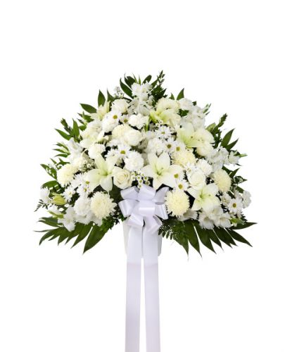 Heartfelt Sympathies Basket In White