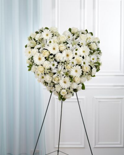 All White Heart Wreath