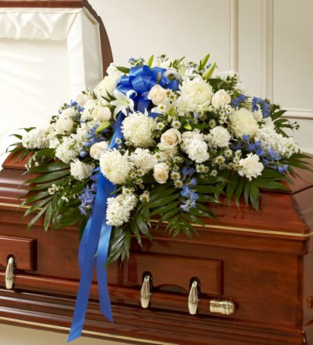 Rose Half Casket In Blue & White