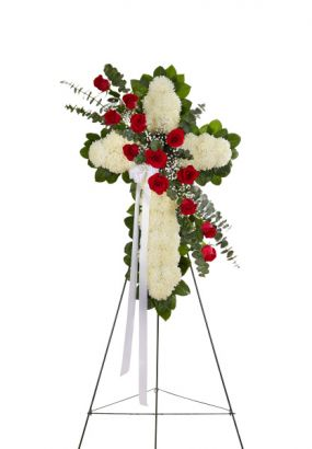 Peace & Prayers Standing Cross in Red & White