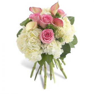 Pink Rose, Calla And Hydrangea Bouquet