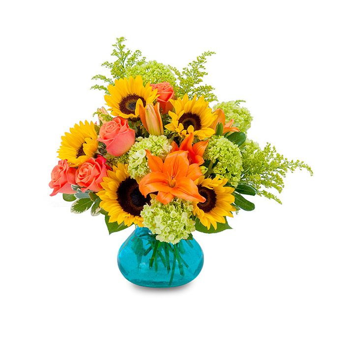 Sunflowers, mini green hydrangeas, orange lilies, roses and greens