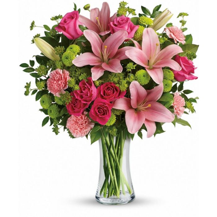 Rosa Linda is a beautiful mixed vase arrangement of Pinks and Lush Greens. Pink flowers and pink roses.